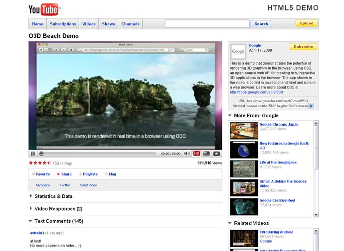 Youtube HTML5 Demo
