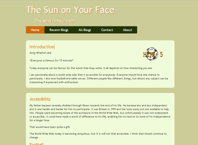 The Sun on Your Face