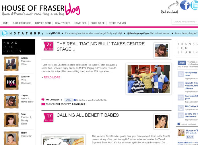House of Fraser blog